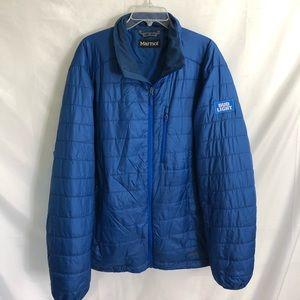 Marmot Blue Down Jacket Blue Bud Light 2XL